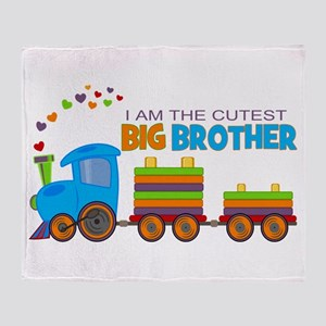 I am the Cutest Big Brother - Train Throw Blanket